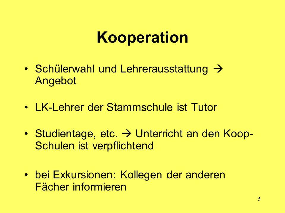 Kooperation Schülerwahl und Lehrerausstattung  Angebot