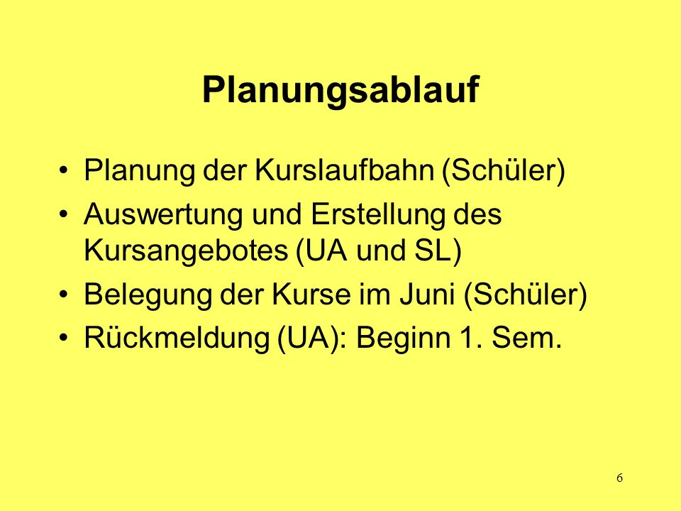 Planungsablauf Planung der Kurslaufbahn (Schüler)