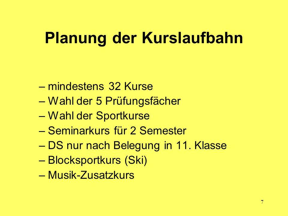 Planung der Kurslaufbahn