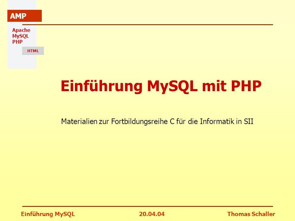 Einführung MySQL mit PHP