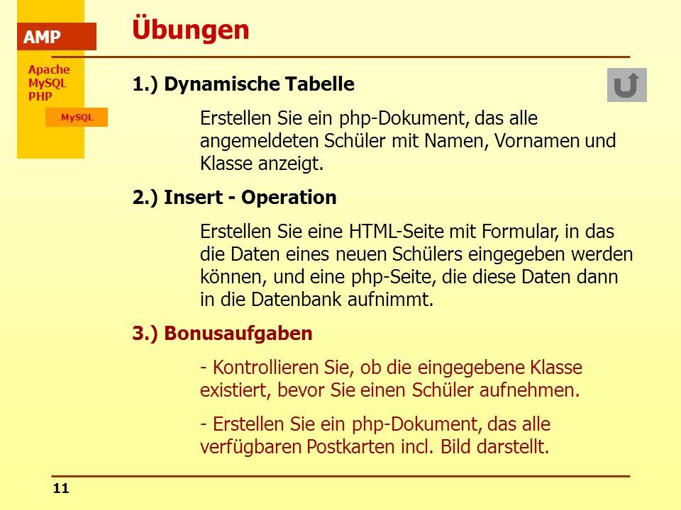 Übungen 1.) Dynamische Tabelle