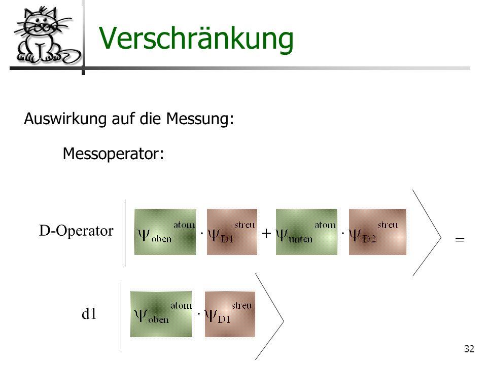Verschränkung Auswirkung auf die Messung: Messoperator: D-Operator =