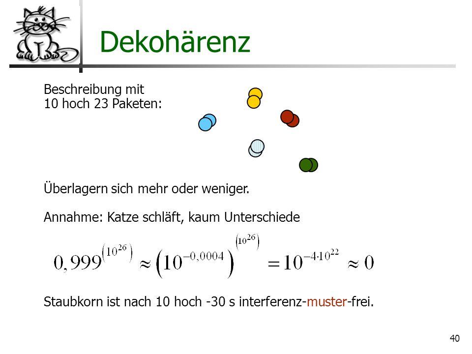 Dekohärenz Beschreibung mit 10 hoch 23 Paketen: