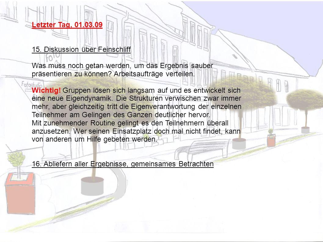 Letzter Tag, 01.03.09 15. Diskussion über Feinschliff.