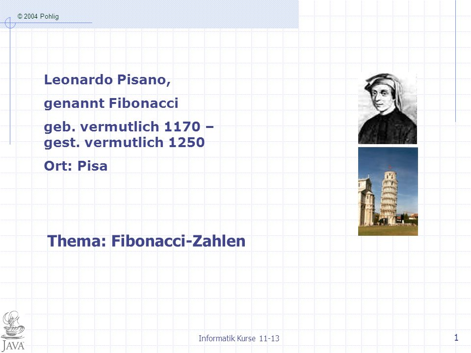 Thema: Fibonacci-Zahlen