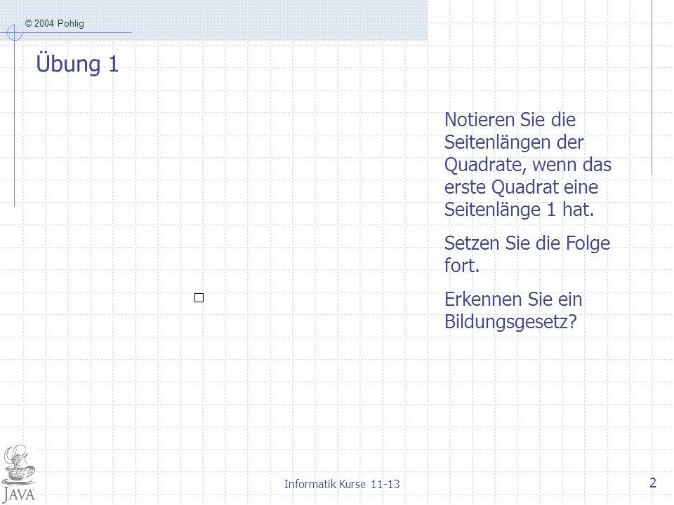 Übung 1 Notieren Sie die Seitenlängen der Quadrate, wenn das erste Quadrat eine Seitenlänge 1 hat. Setzen Sie die Folge fort.
