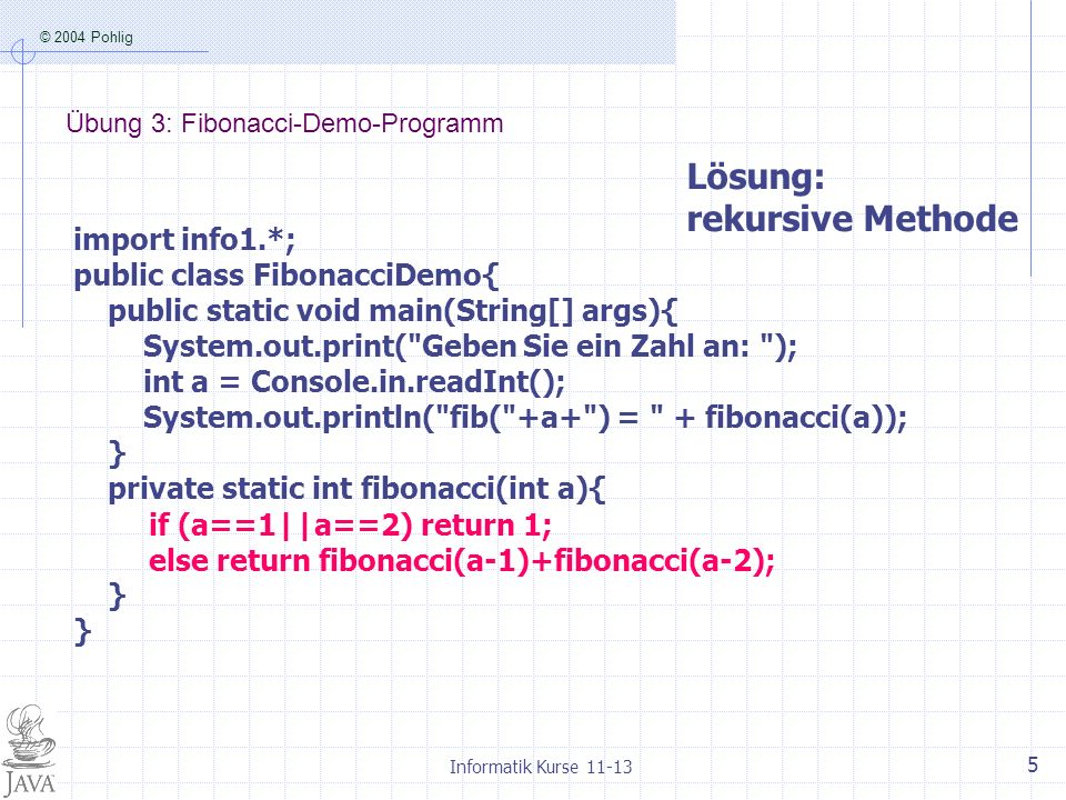 Übung 3: Fibonacci-Demo-Programm
