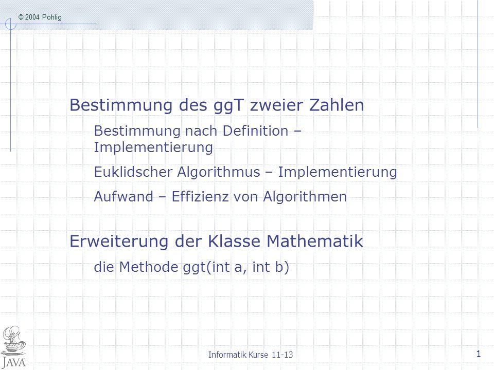 Bestimmung des ggT zweier Zahlen