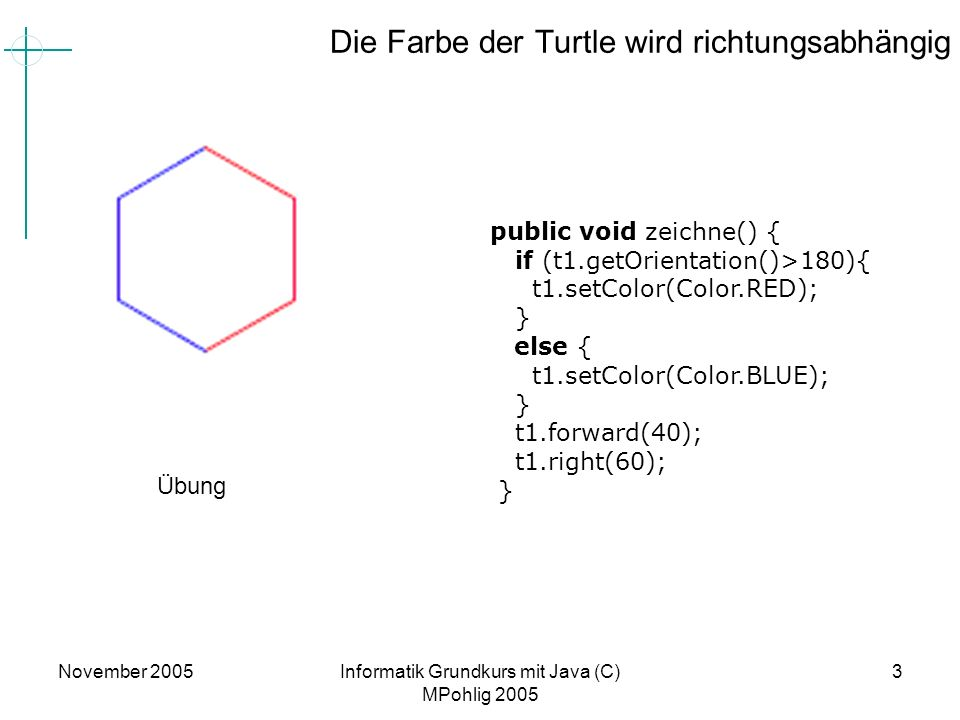 Die Farbe der Turtle wird richtungsabhängig