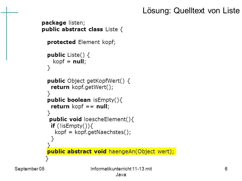 Lösung: Quelltext von Liste