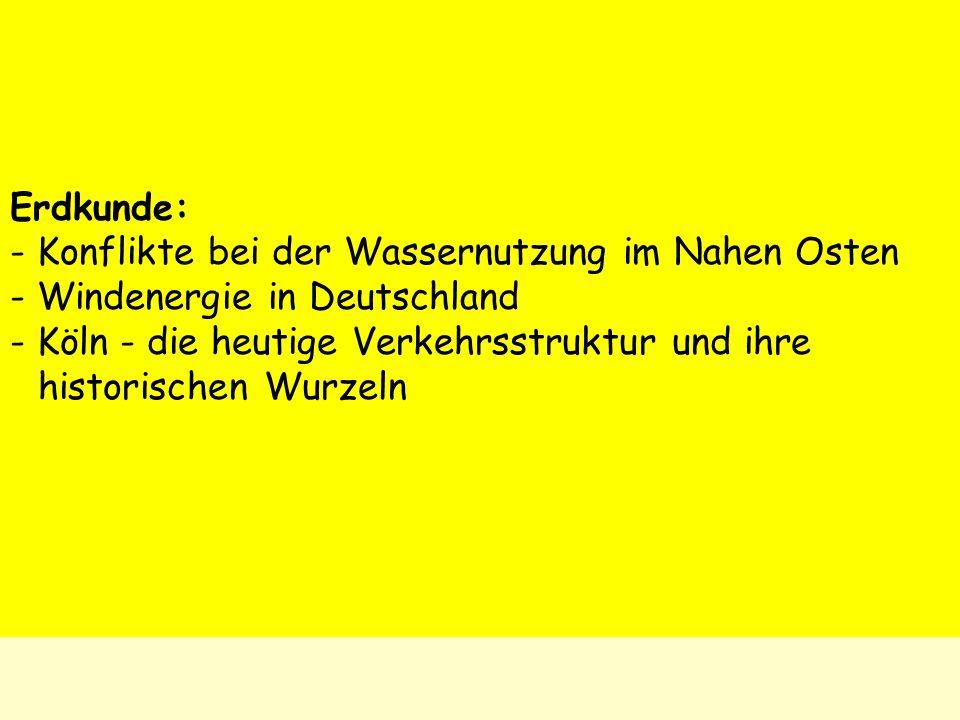 Erdkunde: ‑ Konflikte bei der Wassernutzung im Nahen Osten. ‑ Windenergie in Deutschland.
