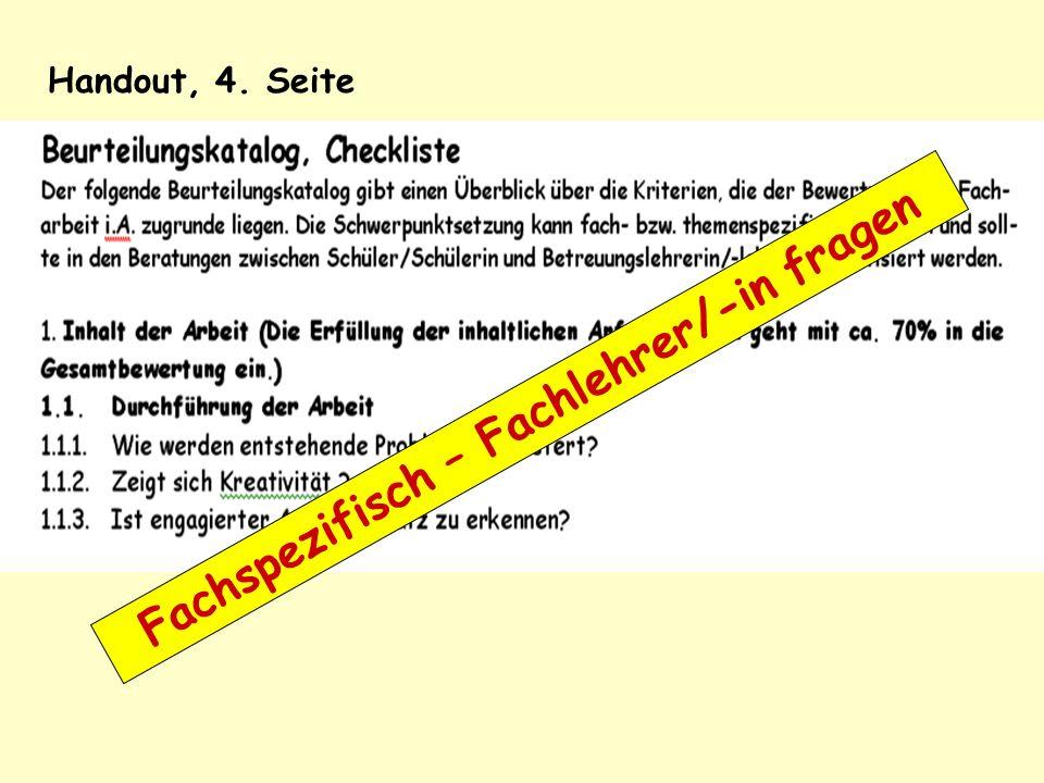 Fachspezifisch – Fachlehrer/-in fragen