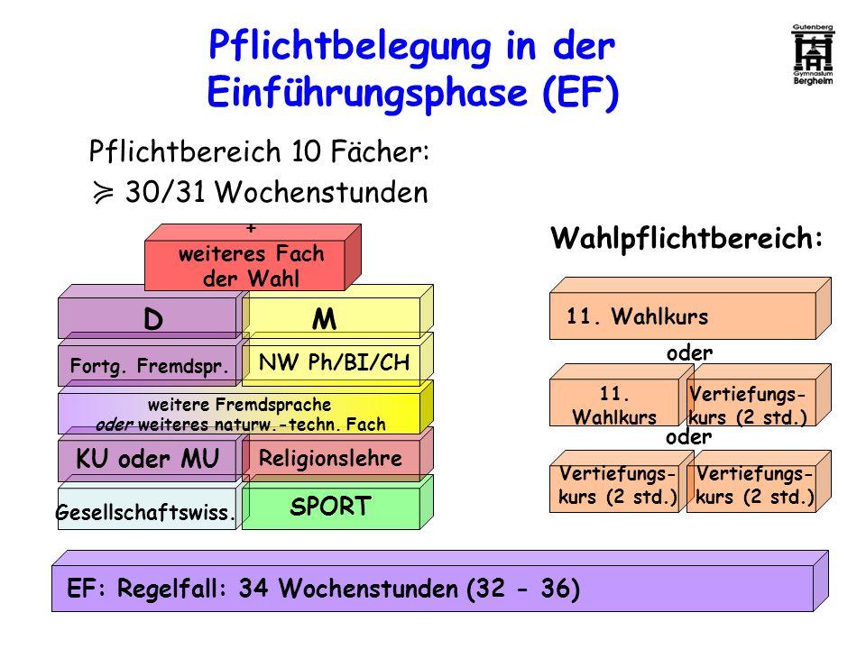 Pflichtbelegung in der Einführungsphase (EF)