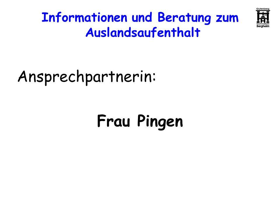 Informationen und Beratung zum Auslandsaufenthalt