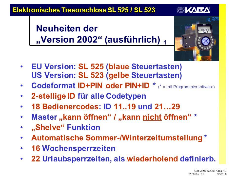"""Neuheiten der """"Version 2002 (ausführlich) 1"""