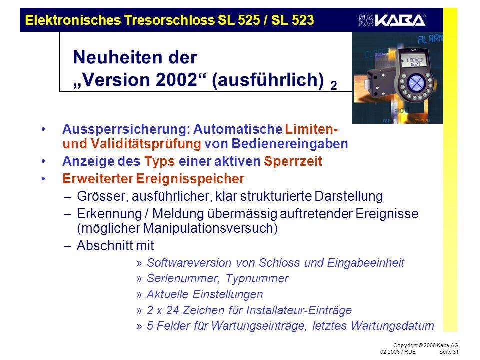 """Neuheiten der """"Version 2002 (ausführlich) 2"""