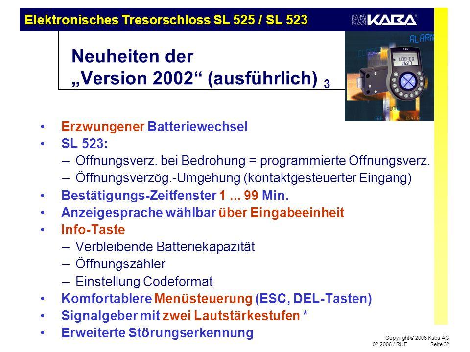 """Neuheiten der """"Version 2002 (ausführlich) 3"""