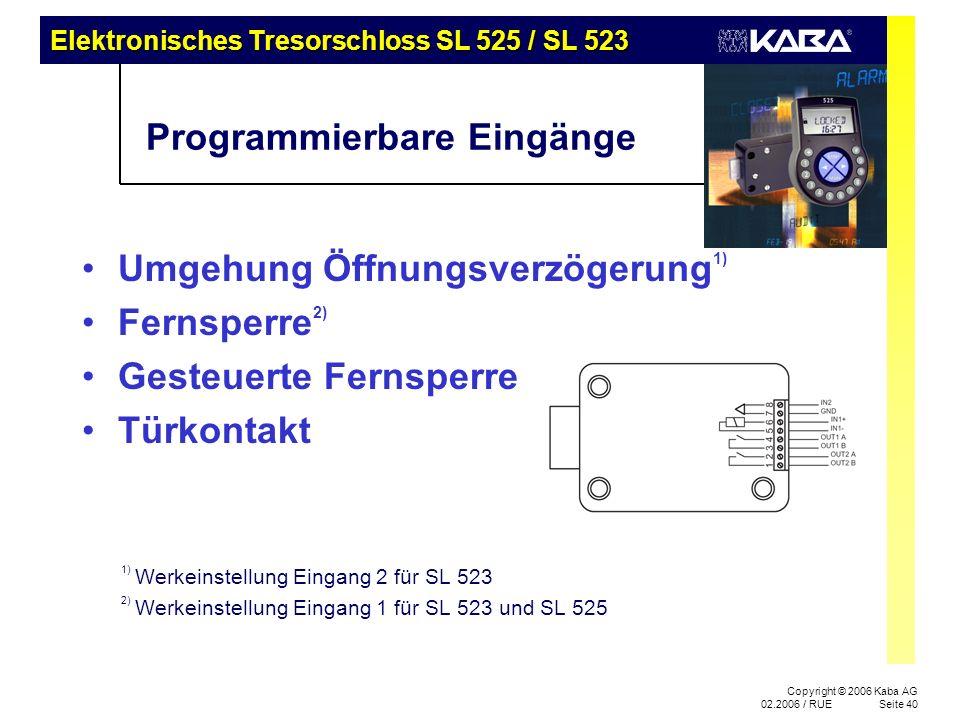 Programmierbare Eingänge