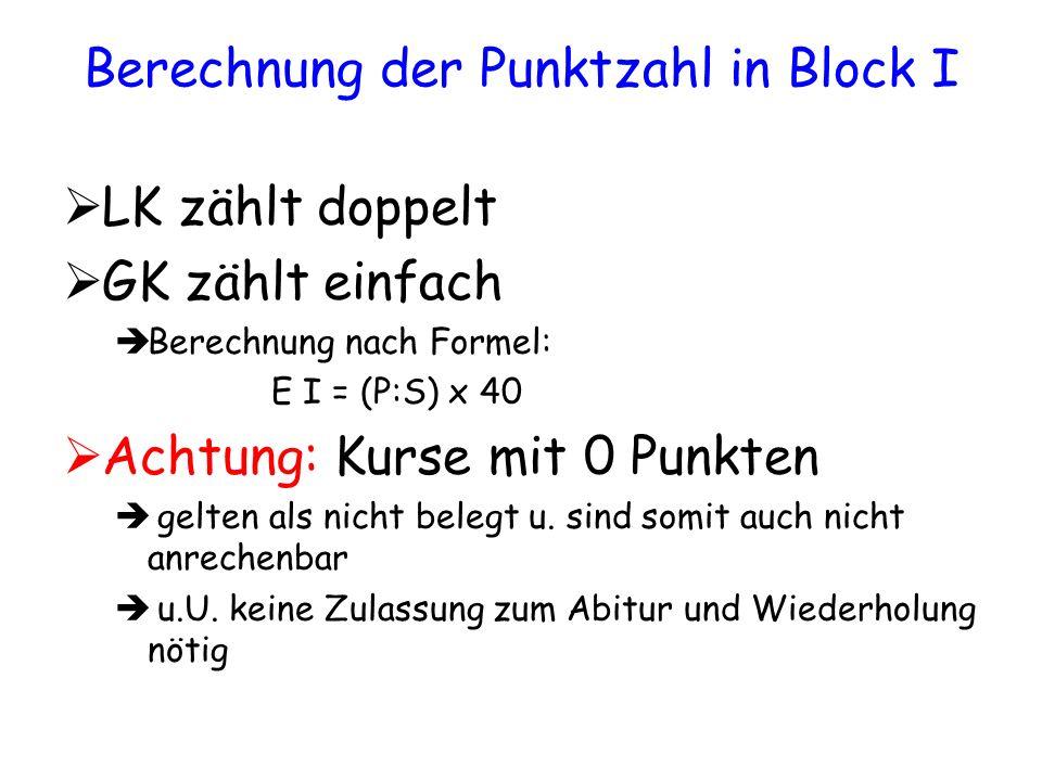 Berechnung der Punktzahl in Block I