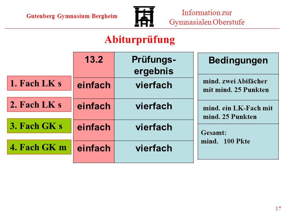 Abiturprüfung 13.2 Prüfungs-ergebnis einfach vierfach Bedingungen