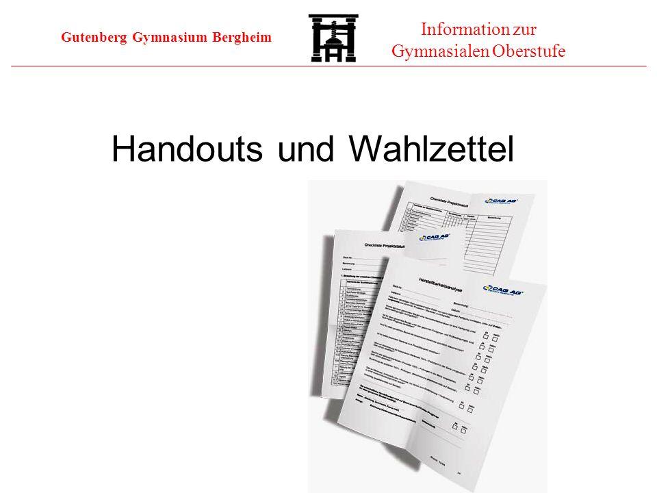 Handouts und Wahlzettel
