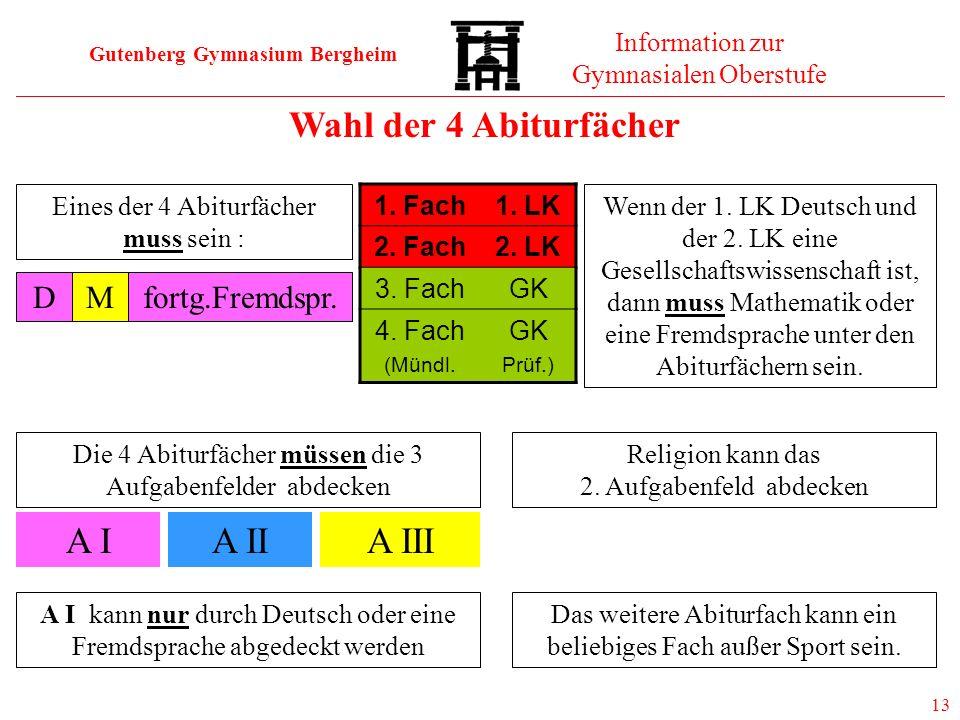 Wahl der 4 Abiturfächer A I A II A III D M fortg.Fremdspr.