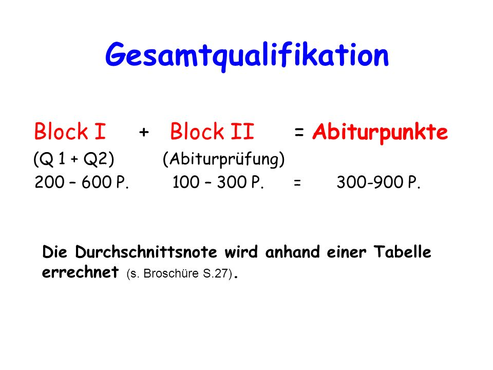 Gesamtqualifikation Block I + Block II = Abiturpunkte