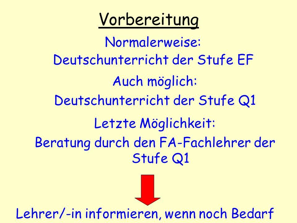 Vorbereitung Normalerweise: Deutschunterricht der Stufe EF