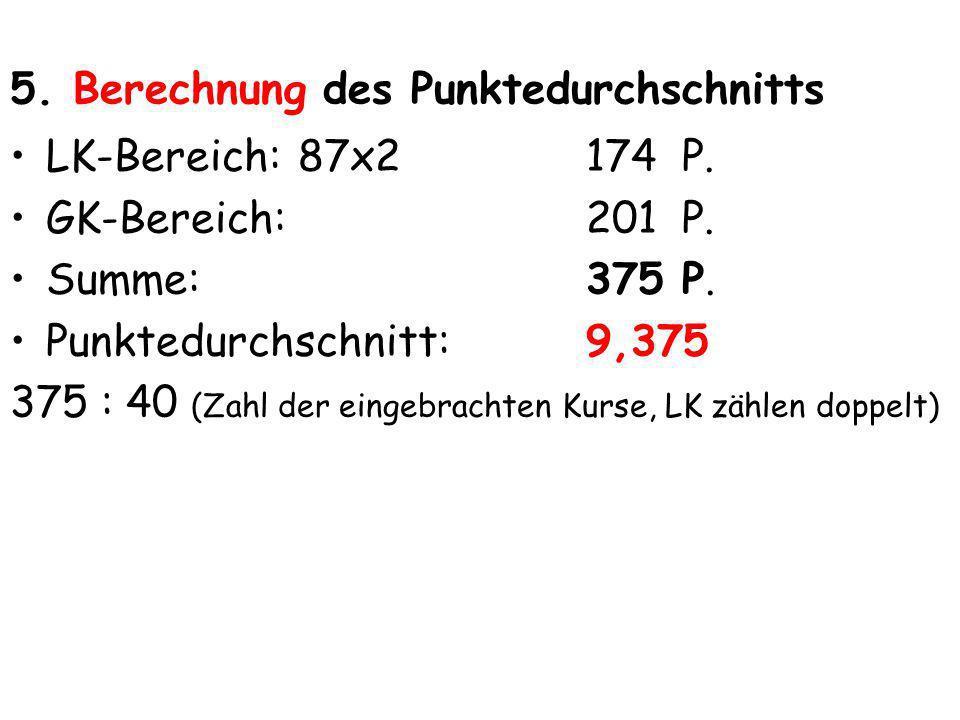 5. Berechnung des Punktedurchschnitts