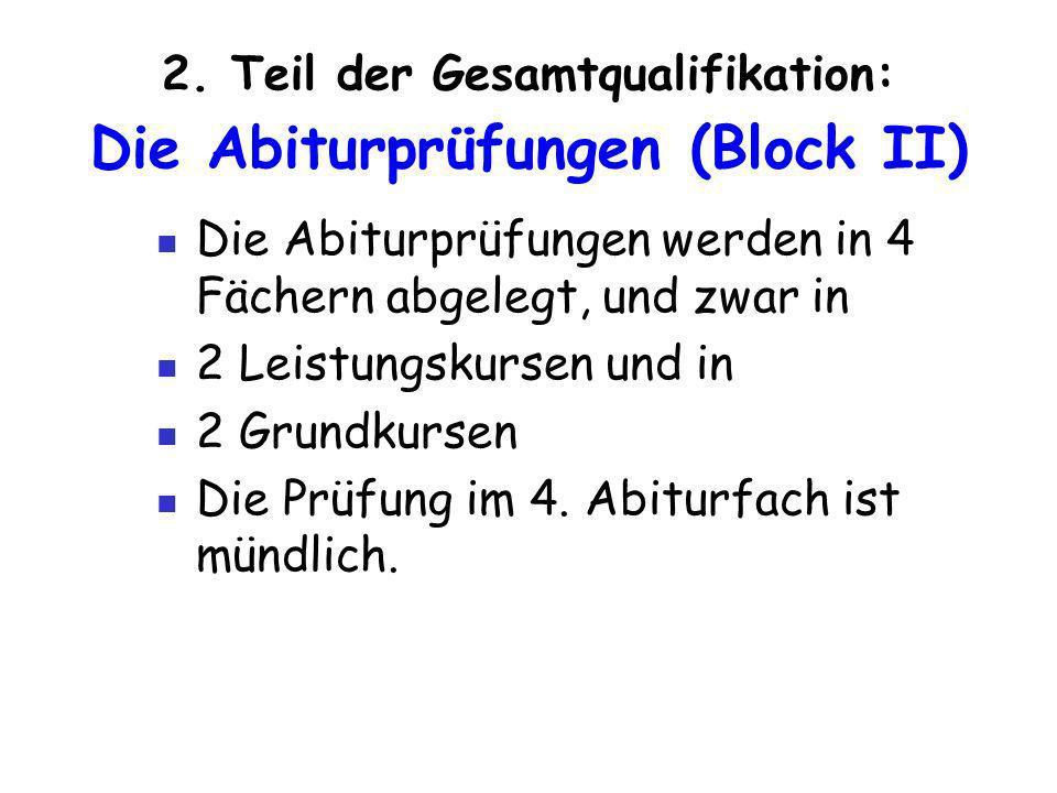 2. Teil der Gesamtqualifikation: Die Abiturprüfungen (Block II)