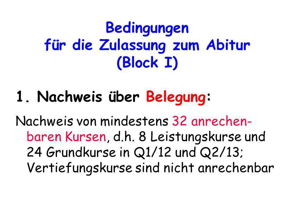 Bedingungen für die Zulassung zum Abitur (Block I)