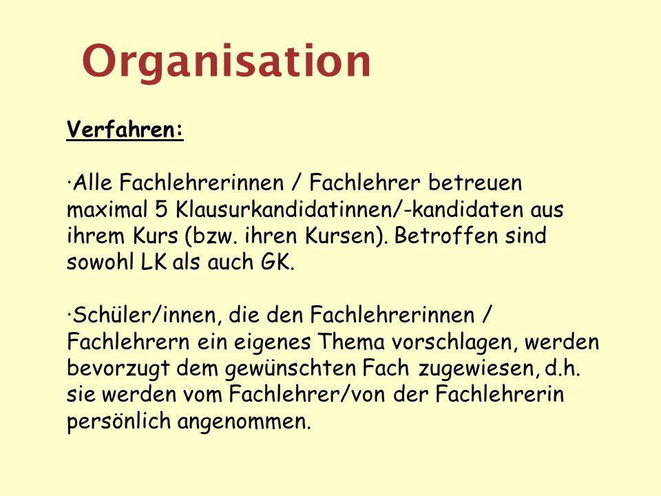 Organisation Verfahren: