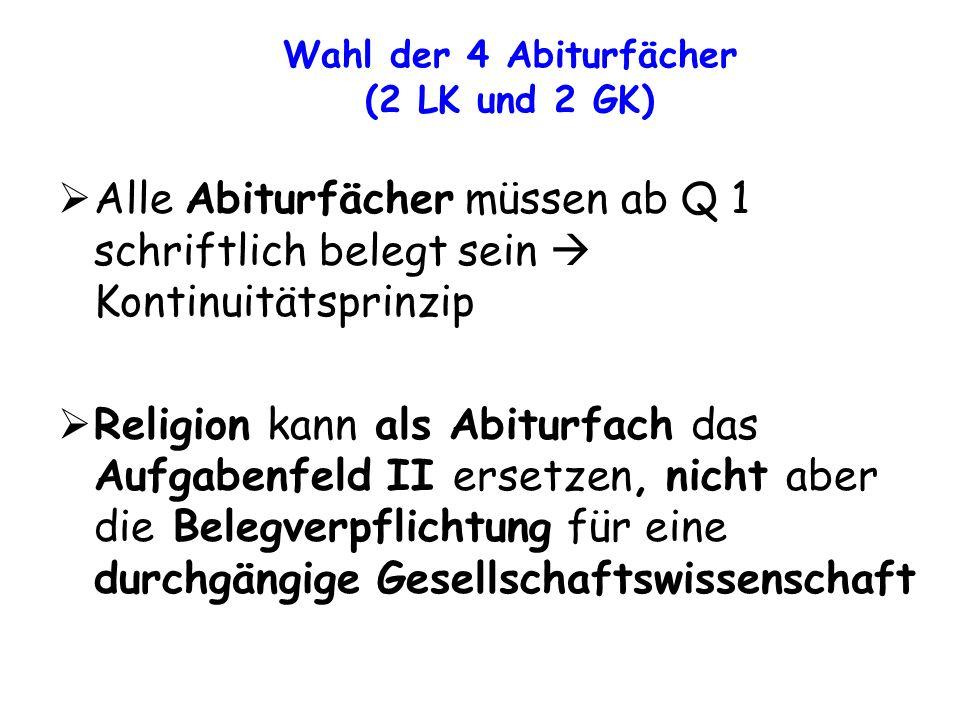 Wahl der 4 Abiturfächer (2 LK und 2 GK) Alle Abiturfächer müssen ab Q 1 schriftlich belegt sein  Kontinuitätsprinzip.