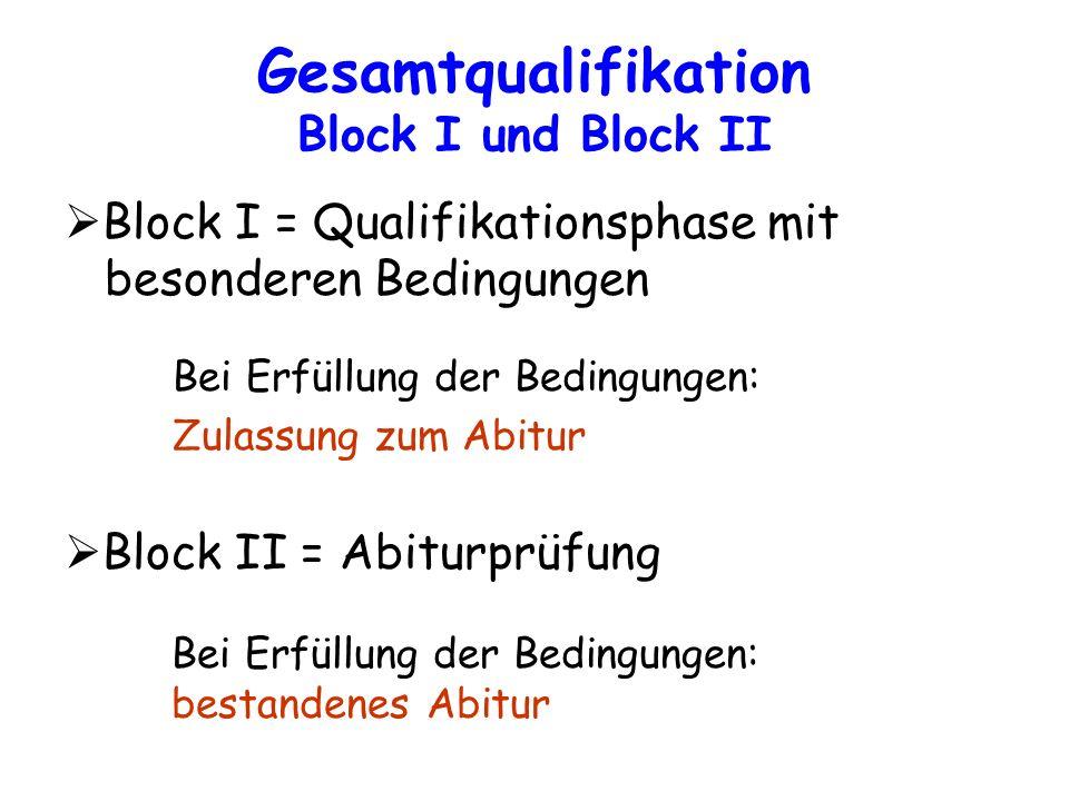 Gesamtqualifikation Block I und Block II