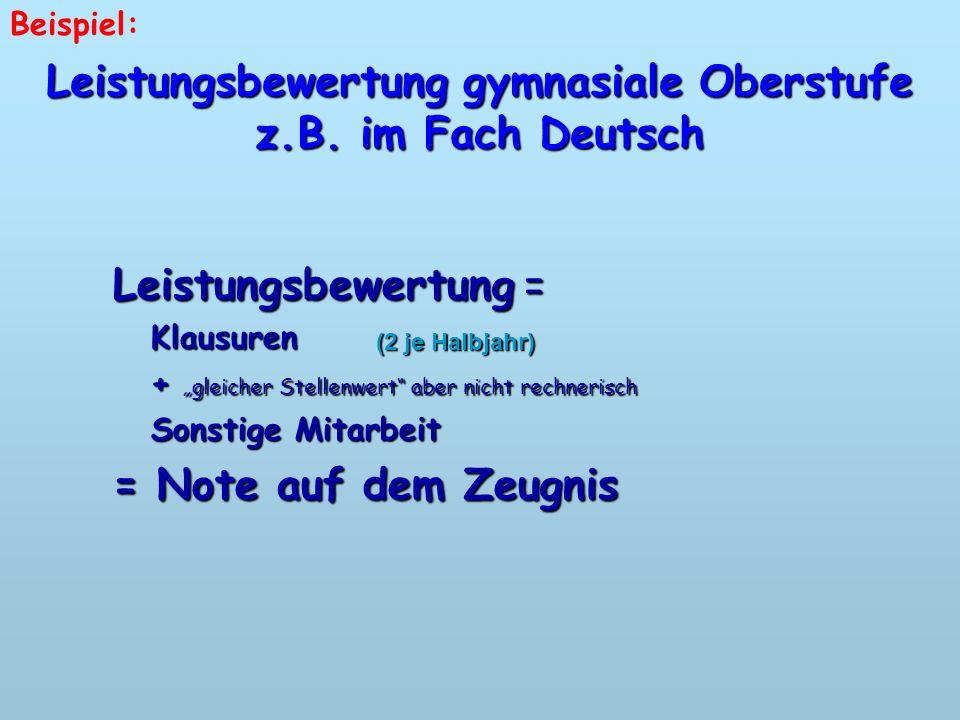 Leistungsbewertung gymnasiale Oberstufe z.B. im Fach Deutsch