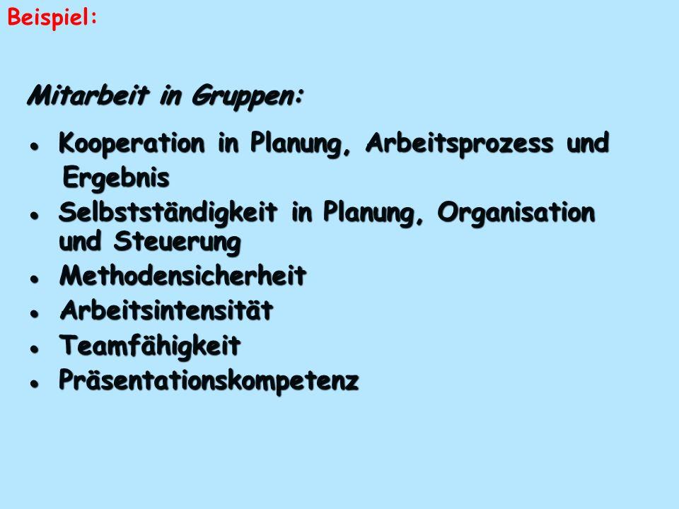 ● Kooperation in Planung, Arbeitsprozess und Ergebnis