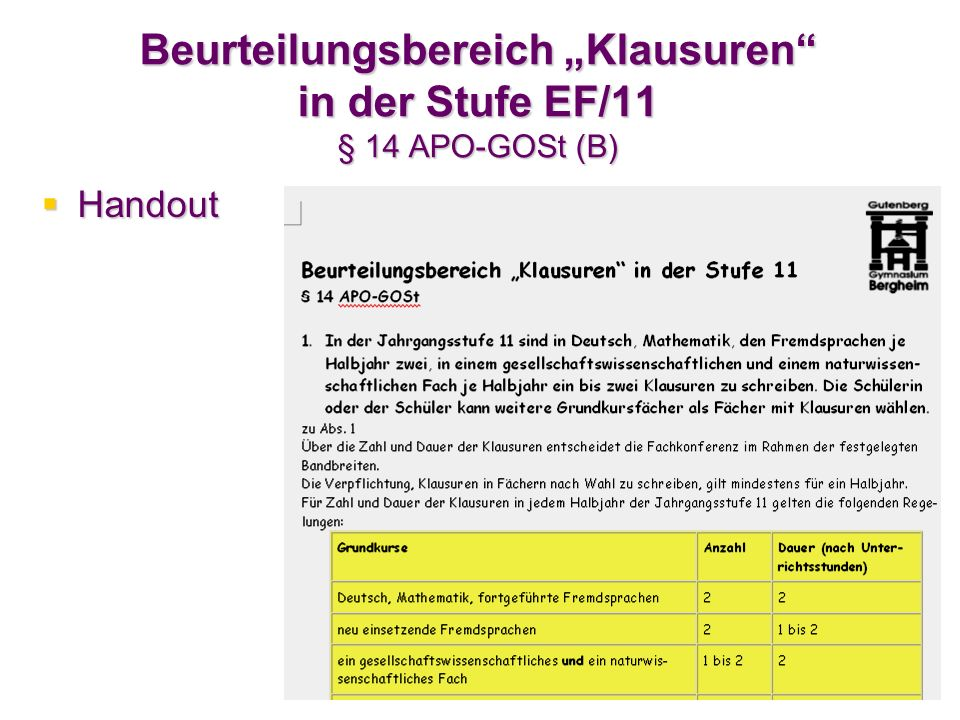 """Beurteilungsbereich """"Klausuren in der Stufe EF/11 § 14 APO-GOSt (B)"""