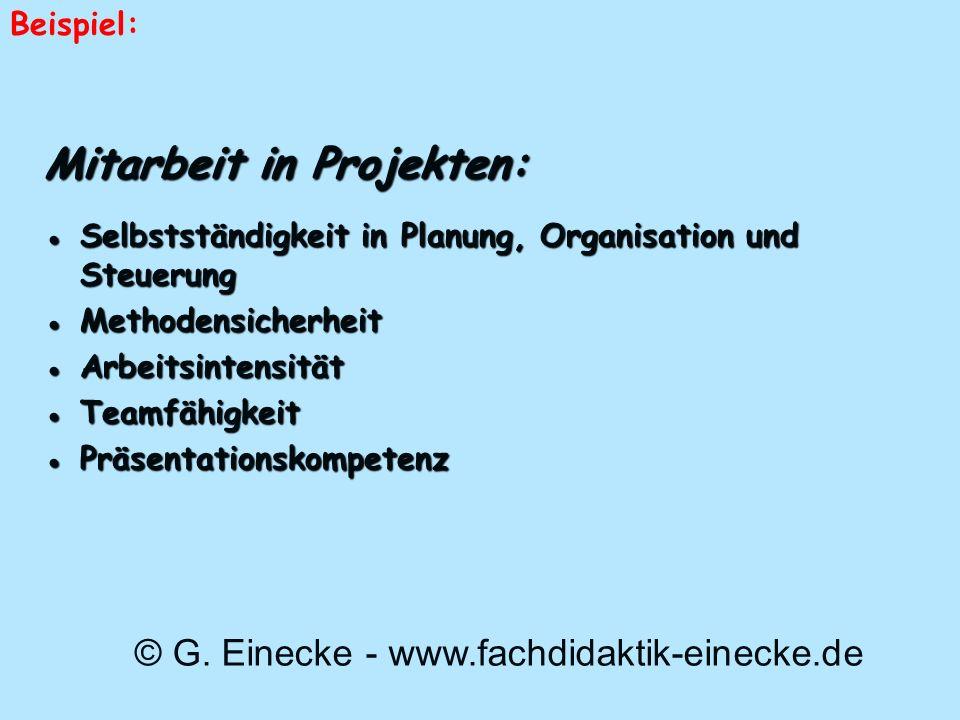 Mitarbeit in Projekten: