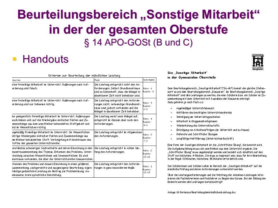 """Beurteilungsbereich """"Sonstige Mitarbeit in der der gesamten Oberstufe § 14 APO-GOSt (B und C)"""