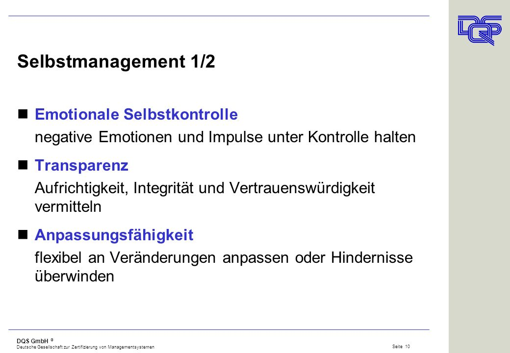 Selbstmanagement 1/2 Emotionale Selbstkontrolle