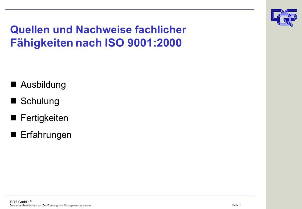 Quellen und Nachweise fachlicher Fähigkeiten nach ISO 9001:2000