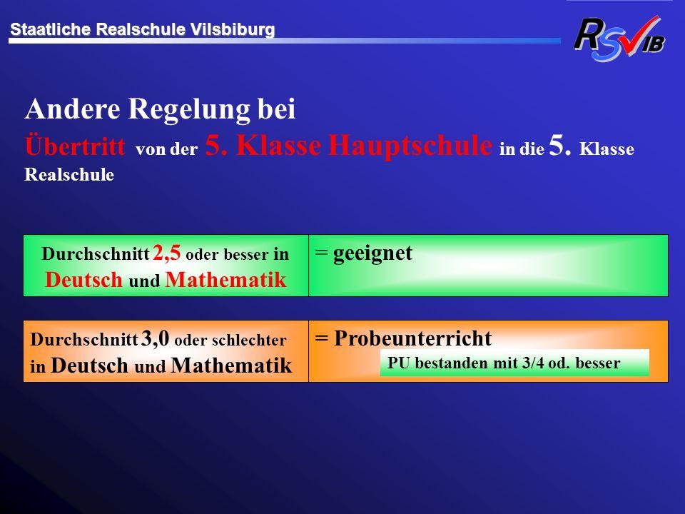 Durchschnitt 2,5 oder besser in Deutsch und Mathematik