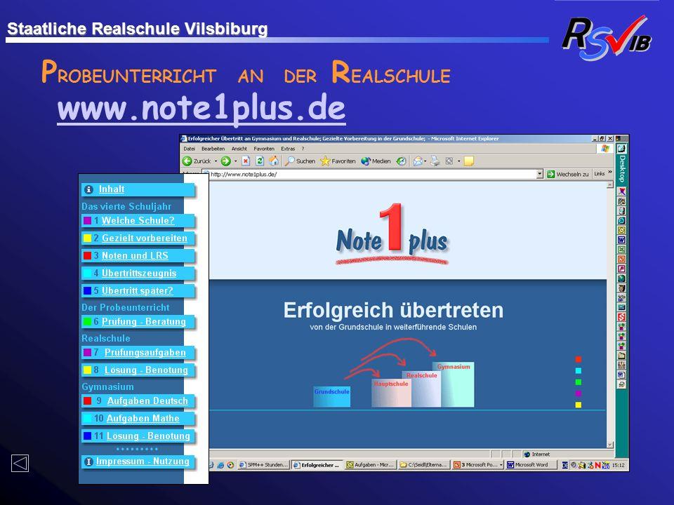 www.note1plus.de PROBEUNTERRICHT AN DER REALSCHULE