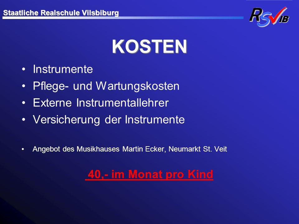 KOSTEN Instrumente Pflege- und Wartungskosten