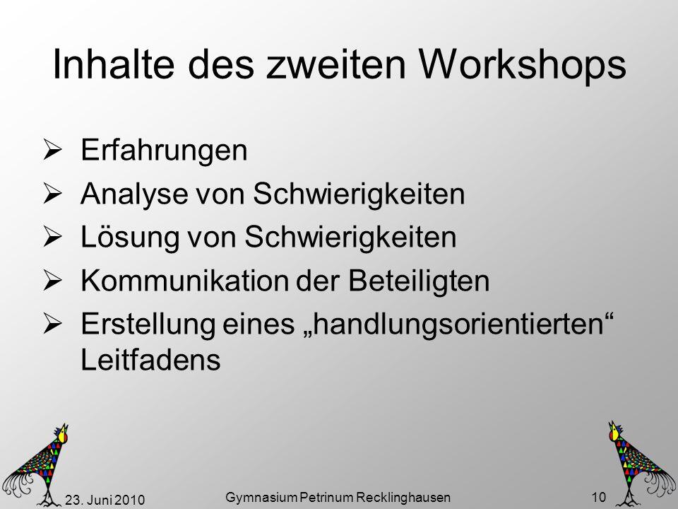 Inhalte des zweiten Workshops