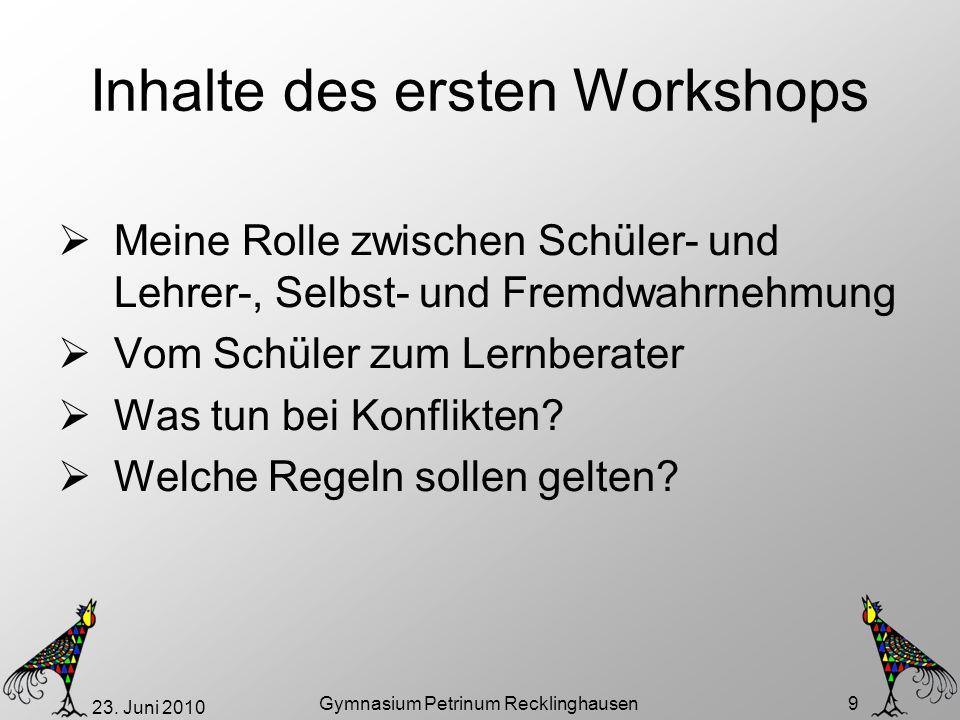Inhalte des ersten Workshops