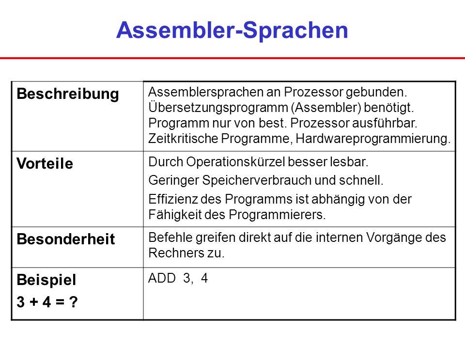Assembler-Sprachen Beschreibung Vorteile Besonderheit Beispiel