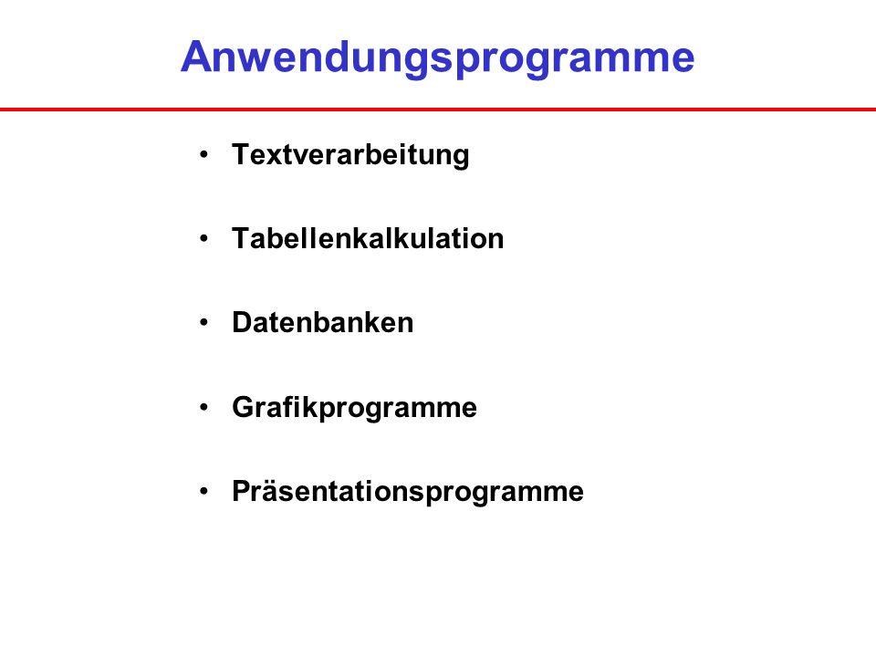 Anwendungsprogramme Textverarbeitung Tabellenkalkulation Datenbanken