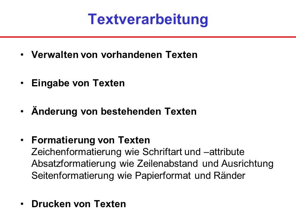 Textverarbeitung Verwalten von vorhandenen Texten Eingabe von Texten