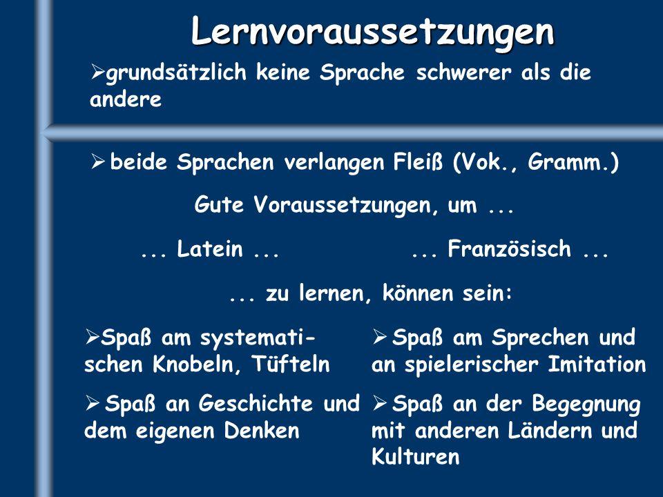 Lernvoraussetzungengrundsätzlich keine Sprache schwerer als die andere. beide Sprachen verlangen Fleiß (Vok., Gramm.)